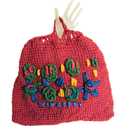 Bright Red Crocheted Rope Tote Bag With Colorful Pop-Out Embroidered Design