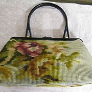SOLD Koret Tapestry Floral Kelly Bag Red Leather Lined Made In Italy Plastic Handle & Frame..E