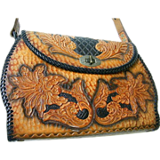 Designer Quality Tooled Leather Handbag..Floral / Leaves..Black Ground..Brown Design..Mid ...