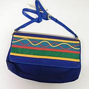 VIVA Blue Swede Handbag / Shoulder- Bag..Applique Stripe On Flap..Hangtag..NOS