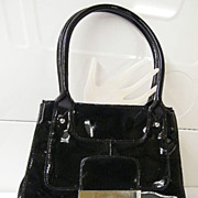 ALFANI... Black  Patent Leather Handbag... Wide Opening...Excellent Condition!