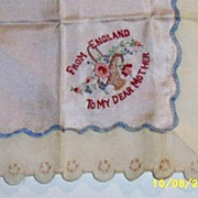 Hanky Handkerchief Vintage WW 11 From England To My Dear Mother