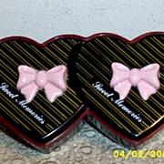 Twin Heart Shaped Plastic Box...Sweet Memories...Multi-Layred Hong Kong