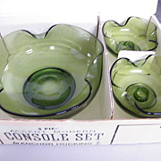 1960's..Console Set / Hostess Set By Anchor Hocking..Avocado :NIB