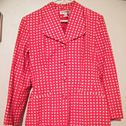 Late 1960's HOT PANTS SUIT..Red / White Checked Printed Cotton Pique..Gruppo Americano Studio