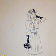 Original...Pen And Ink...Fashion Illustration. ..1930's/40's