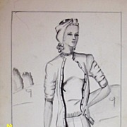 Original...Pen And Ink...Fashion Illustration...1930's - 40's
