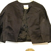 Designer..Cropped Jacket..Silk Satin..Black..Silk Lined..Shawn Ray Fons..
