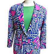 Kansai Yamamoto..Silk Abstract Print Jacket..See Coordinates...Size 8..Hong Kong..1980's