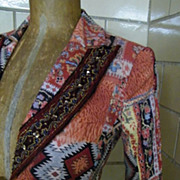 Alberto Makali Native Indian Print Jacket..Muted Vegetable Colors..Size 2..