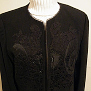 Formal Black Wool Crepe Short Jacket With Lace & Satin Appliques By Ellen Tracy..Size 14..Exce