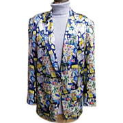 Nicole Miller's..Fun In The Sun With Bacardi Print Silk Jacket..Size M..Korea