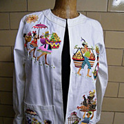Bob Mackie Wearable Art Jacket..Cotton Twill..Island Theme Embroidery..Size M..