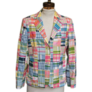 SOLD Patchwork Madras Jacket..Cotton..Lined..Made In India..Brooks Brothers..Size 10..Excellen