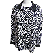 Jacket & Sleeveless Top Coordinate..Zebra Print..Sequins..Formal..Size X Large..Korea..Excelle