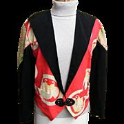 1980's Antique Silk Kimono Collage Tuxedo Jacket By Yvonne O'Gara Collections...Excellent ...