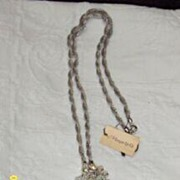 """Crystal Beaded Drop Necklace  [32""""] On A Twisted Silver Chain"""