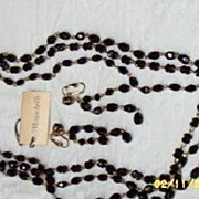 Triple Strand Small Jet Beaded Necklace  And Earrings By Monacelli