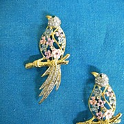 Vintage Twin Bird Of Paradise Scatter Pins..Pink & Blue Pearlized Enamel Flowers & Clear Rhine