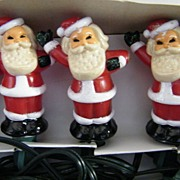 Vintage SANTA Christmas Tree Light Covers..2  Sets Of 5 Santa's..Hand Painted..Hollow Hard Pla