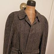 Vintage...Mens Black/Gray Herringbone Wool Coat With Belt..Pure Wool..Made In England