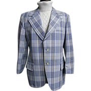 SALE Men's  Blue & White Cotton Seersucker Plaid Sports Coat Jacket...Lancashire..1960's .