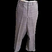 Men's Plaid Golf Slacks..Brown / Beige Wool From 1960's