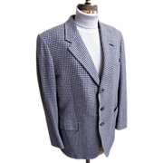 Men's 100% Cashmere Sports Jacket In Gray / Blue / Navy Check By Hickey Freeman Customized Clo