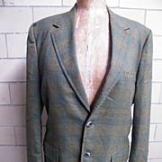 SALE 1960's..Men's Iridescent Wool Shadow Plaid Sports Jacket..Coat..Rockingham For Belk Tyler