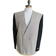 Men Casual Vest / Sports Jacket..Street Smart By Primo.. Black & Off White Tiny Geometric Weav