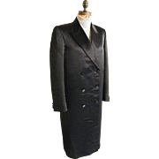 SALE Men's Black Satin Long Opera Coat...Tuxedo Coat...Double Breasted...By G&G Quality Clothi