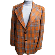 MEN's Orange & Beige Plaid Polyester Doubleknit Sports Jacket With Silk Noils By Male Call..19