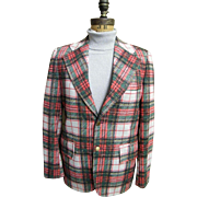 SALE Men's Tartan Plaid Polyester Double Knit Sports Coat / Jacket..1960's - 70's ...