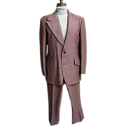 SALE Men's Polyester Textured Knit Suit In Muted Clay..Printed Paisley Lining..Over-Stitched .