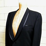 SALE Mid-Century Black Wool Men's Tuxedo Suit..Narrow Shawl Collar..Satin Trimmed..