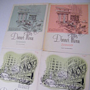 SCHRAFFT'S Dinner Menu..New York Landmark Series..4 Available..Green & Coral