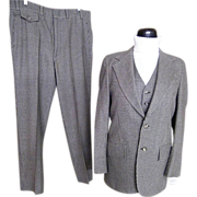 SALE Men's 3 Piece Suit..Small Check..Gray/Brown/Beige..Barney's Madison Room ...