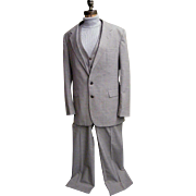 Men's 3 Piece Wool / Polyester Woven Suit..Light Beige Ground With Pale Blue Fine Line Tatters