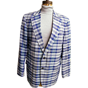 SALE Men's Blue Madras Plaid Sports Jacket / Coat..Brooks Brothers...1970..Size 42L..Excellent