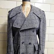 SOLD 1960's Men's DK Navy Glen Plaid Belted Coat & Deep Buttoned Kick Pleat..ALEXANDER'S Dept.