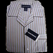 Men's NOS Cotton Blend Flannel Pajamas..Brown Stripe..Medium..1960's..