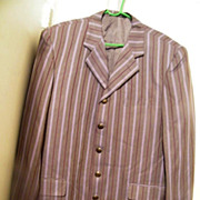 SALE Men's Striped Sports Jacket Silk-Like Striped..Heather Gray Ground With Dk Wine & Lavende