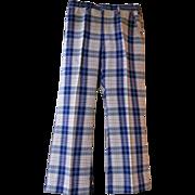 Men's Blue / White Plaid Cotton / Polyester Slacks..Madras Look..1970's..Haggar..Size 34..Exce
