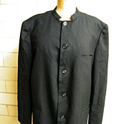 SALE PENDING Designer..Men's NEHRU Tuxedo Jacket..Black Sharkskin Wool..Hand Tailored..Holland