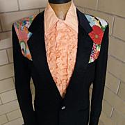 SOLD PIERRE CARDIN..Novelty...Black Tuxedo Jacket With Kimono Print Appliques ..Size 42XL