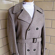 SALE John Weitz Double Breasted Belted Winter Overcoat / Topcoat By Casual Craft ...Size 42R
