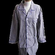 Vintage Men's Beige And Gray Check Plaid 100% Cotton Pajamas Size XXL Maker For ...