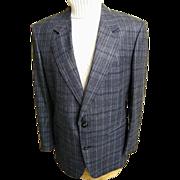 SALE Men's Sport Coat / Jacket...Navy Silk / Wood Plaid..Le Baron..Size 42-S..Excellent Condit