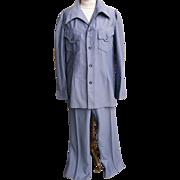 SALE Men's Polyester Slate Blue Knit Leisure Suit...John Blair..Size 42L..1970