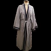 SOLD Blue / White striped Men's KING Sized Kimono Robe...Cotton / Polyester..Navy Banding..Siz